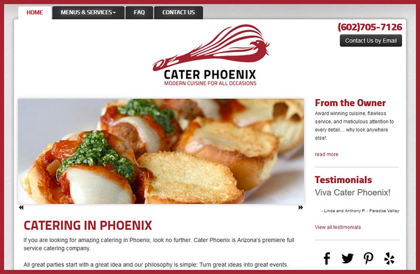 Website Designs for Caterers